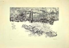Landscape - Original Etching by Renzo Vespignani - 1974