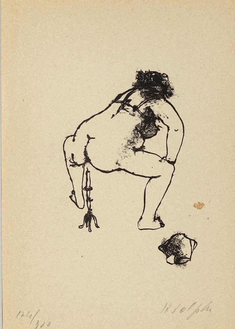 Paraphilia - Original Lithography by Renzo Vespignani - 1944