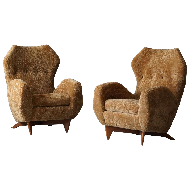 Renzo Zavanella, Organic Lounge Chairs, Sheepskin, Walnut, Italy, 1950s