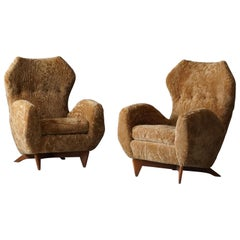Renzo Zavanella, Organic Lounge Chairs, Sheepskin, Walnut, Italy, 1950s