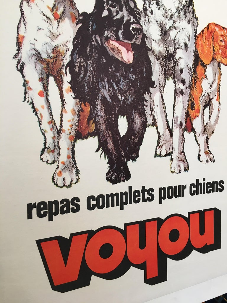Late 20th Century Repas Complet Pour Chiens Voyou Original Vintage French Dog Poster, 1975 For Sale