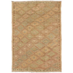 Repeating Diamond Design Turkish Kilim Vintage Rug