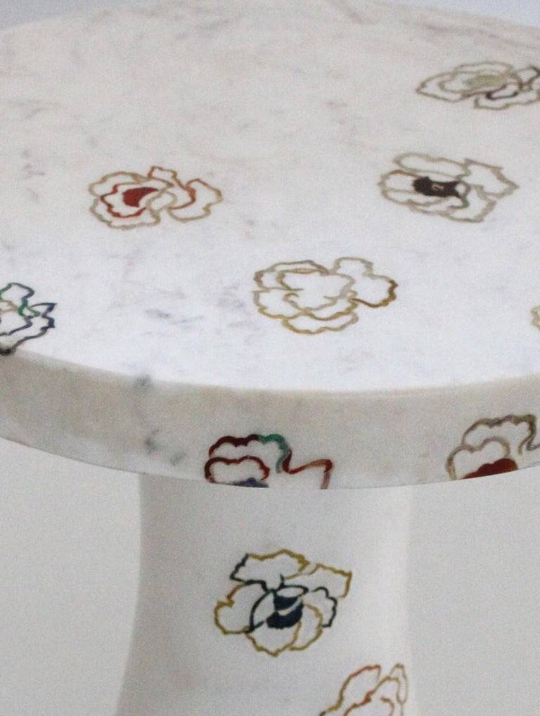 Contemporary Repeating Roses Table, Pietra Dura. By Stephanie Odegard Co. Ltd. For Sale