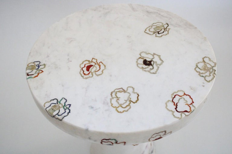 Marble Repeating Roses Table, Pietra Dura. By Stephanie Odegard Co. Ltd. For Sale