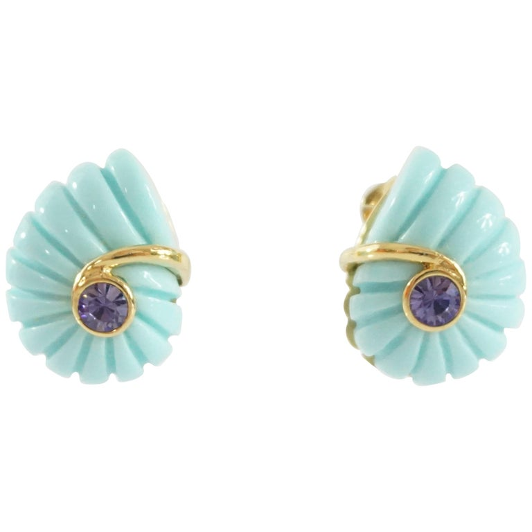 Replica Blue Spiral with Purple Stone and Gold Detailing Clip Earrings For Sale