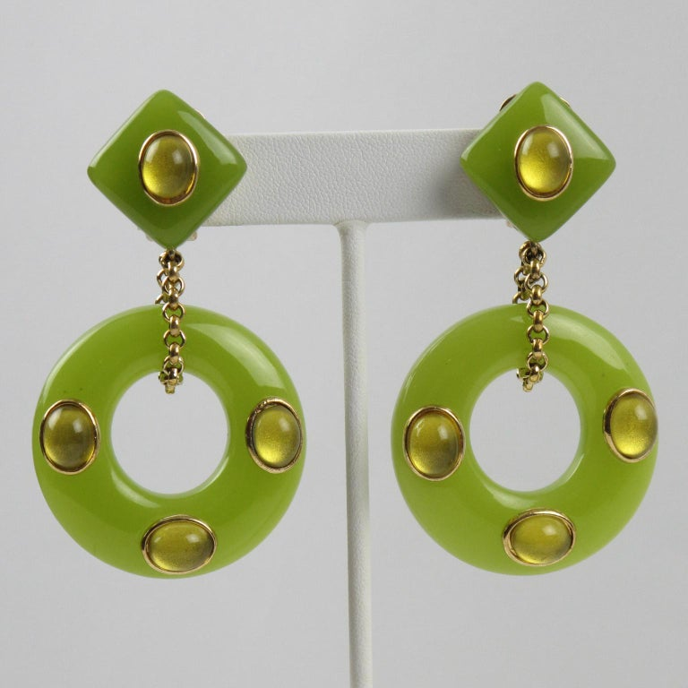 Modern Replica Collection Italy Green Resin Dangling Clip Earrings For Sale