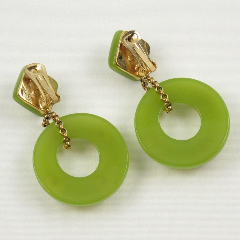 Women's or Men's Replica Collection Italy Green Resin Dangling Clip Earrings For Sale