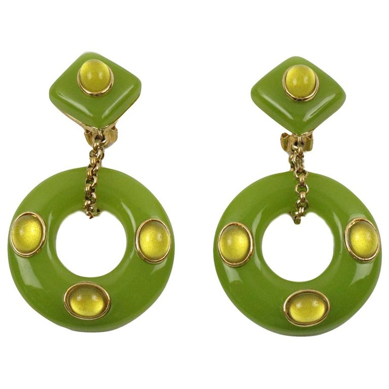 Replica Collection Italy Green Resin Dangling Clip Earrings For Sale