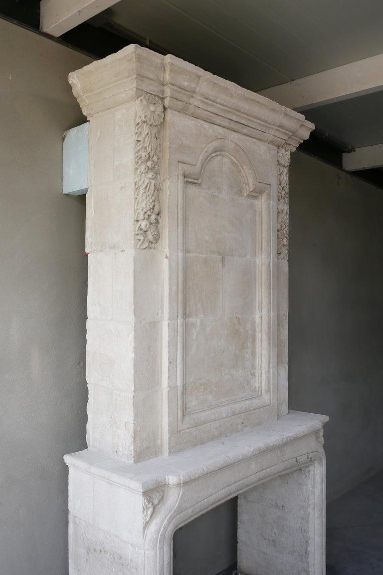 Replica French Castle Fireplace with Trumeau of French Limestone 7