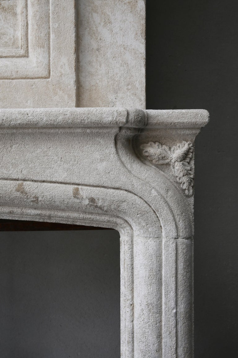 Replica French Castle Fireplace with Trumeau of French Limestone For Sale 3