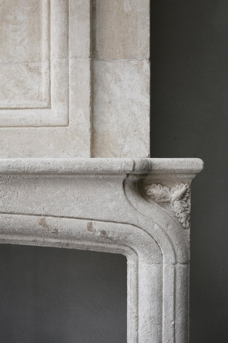 Replica French Castle Fireplace with Trumeau of French Limestone 2