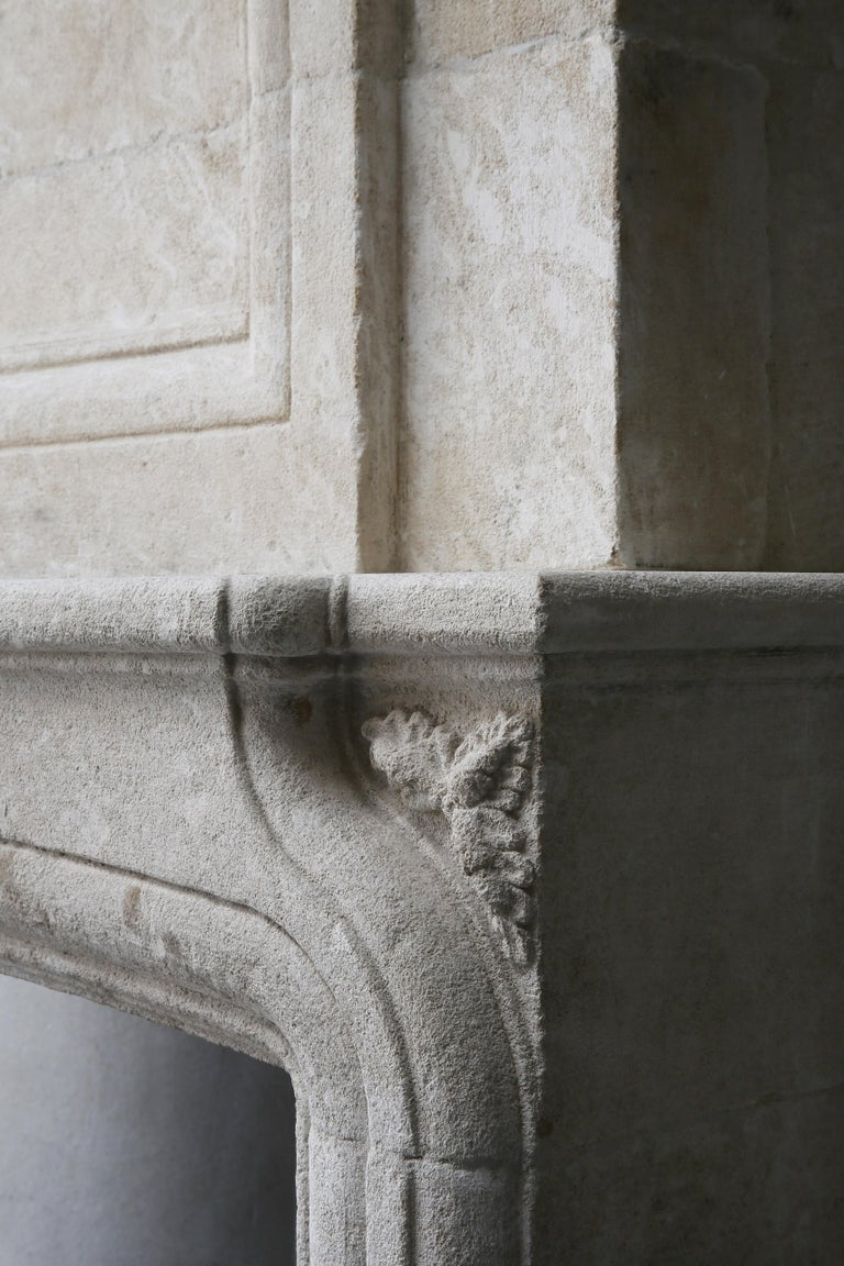 Replica French Castle Fireplace with Trumeau of French Limestone For Sale 5