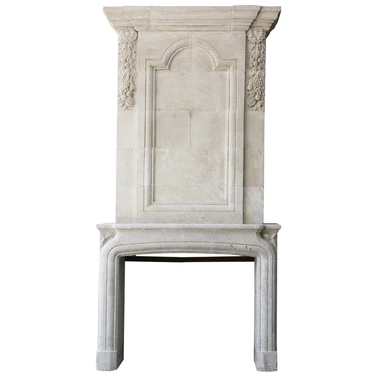 Replica French Castle Fireplace with Trumeau of French Limestone