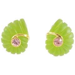 Replica Green Spiral with a Pink Stone Clip Earrings with Gold Detailing