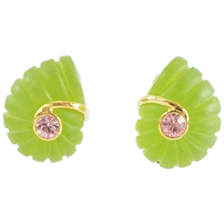 Replica Green Spiral with a Pink Stone Clip Earrings with Gold Detailing For Sale