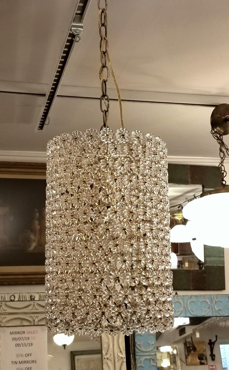 Replica Maison Baguès style Floral Pendant Cylinder Light In Good Condition For Sale In New York, NY