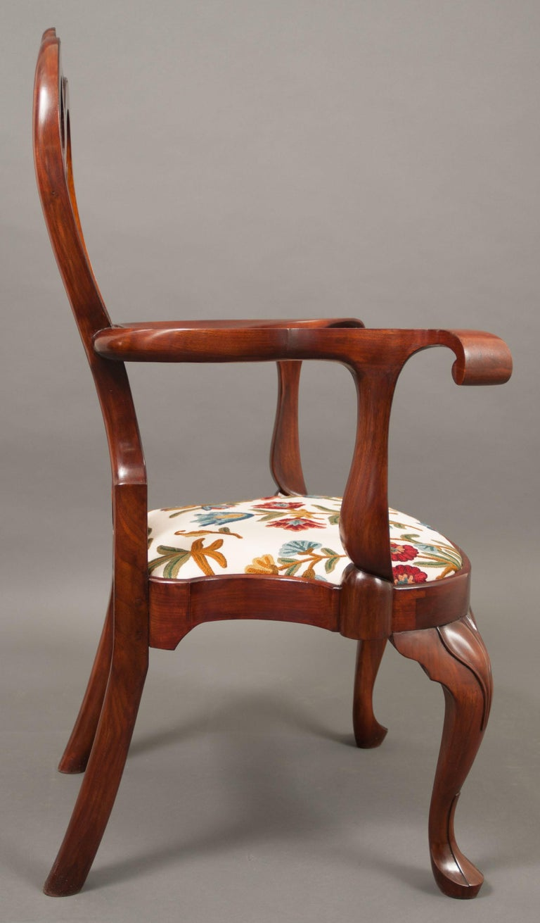 This chair is an exact reproduction in every detail to the original. This exact replica of an American Colonial Period Baroque/Queen Anne Style balloon seat armchair has now been attributed to the Wistar group with similarities to the Stenton Hose