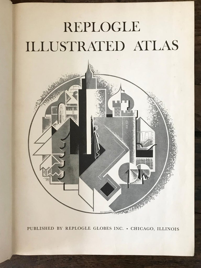 Replogle Library Globe Plus Replogle Illustrated Atlas, Late 1930s For Sale 7