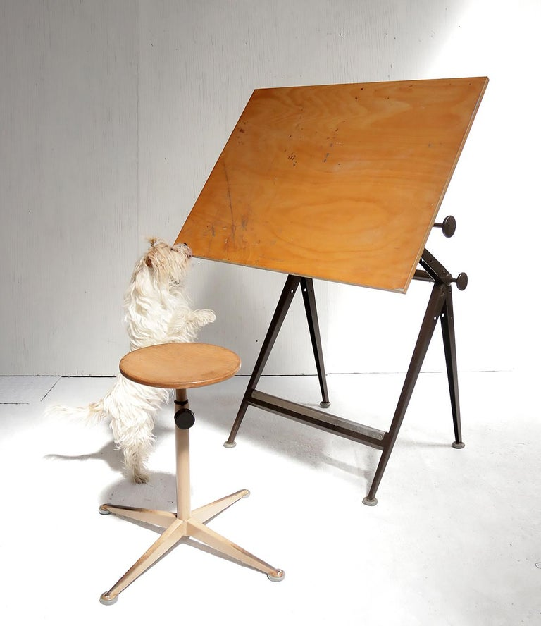 Industrial Reply Architect Drafting Table Friso Kramer, Wim Rietveld Ahrend Cirkel, 1959 For Sale