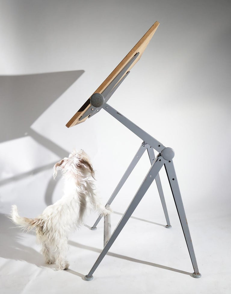 Reply Dutch design architect drawing table designed by Wim Rietveld and Friso Kramer for Ahrend de Circel in 1959. Design Classic, awarded with the