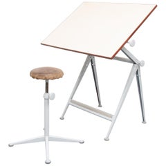 Reply Drawing Table and Matching Stool Ahrend de Cirkel Wim Rietveld