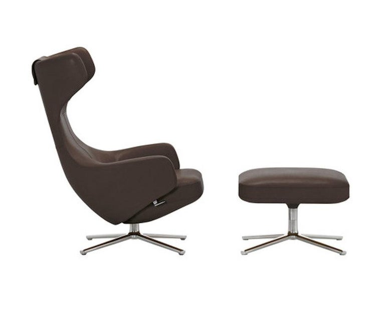 Modern Repos and Ottoman Leather Lounge Chair, by Antonio Citterio from Vitra For Sale