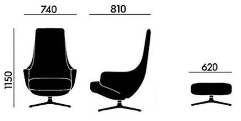 Repos and Ottoman Leather Lounge Chair, by Antonio Citterio from Vitra In Excellent Condition For Sale In Vancouver, BC