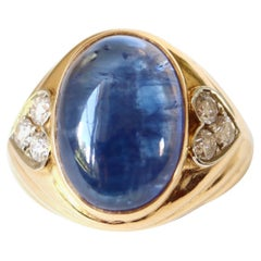 Repossi 18 Kt Yellow Gold Gadrooned Ring 10 Carats Sapphire and Diamonds