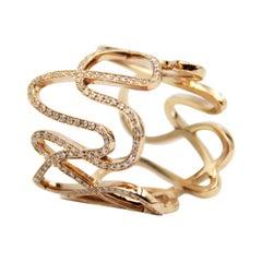 Repossi 18k Pink Gold White Noise Diamond Ring