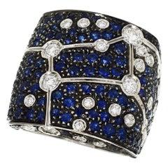Repossi Diamond Blue Sapphire 18 Karat White Gold Virgo Astram Ring