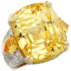 Repossi GIA Certified 51.79 Carat Natural Yellow Sapphire Cocktail Ring