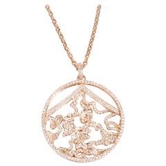 Repossi Pave Diamond Circle Pendant in 18 Karat Rose Gold 2.90 Carat