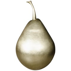 Repoussé Brass Pear Sculpture by Robert Kuo, Limited Edition
