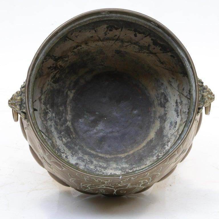 European Repousse Brass Planter from the Victorian Era