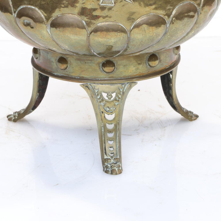 Repoussé Repousse Brass Planter from the Victorian Era