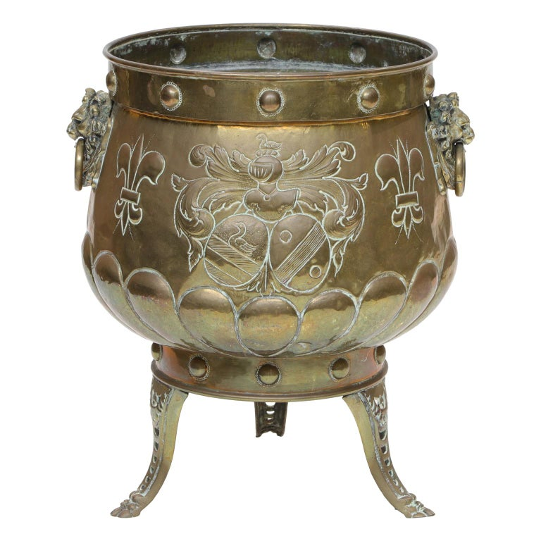 Repousse Brass Planter from the Victorian Era