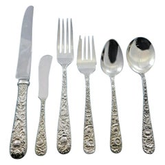Repousse by Kirk Sterling Silver Flatware Set for 12 Service, 87 Pieces