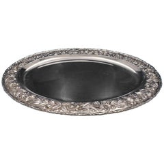 Repousse by Kirk Sterling Silver Serving Platter Rose Border #2518A