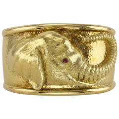 Repousse Elephant Cuff by David Webb
