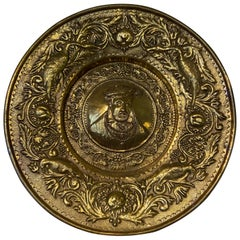 Repousse Gilt Brass Dish, Portrait Charles IX, King of France, circa 1570