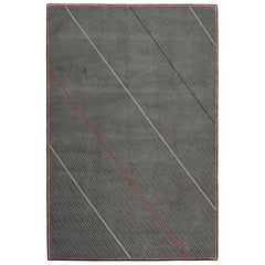 Repp Stripe Hand-Knotted 10x8 Rug in Wool and Silk by Thom Browne