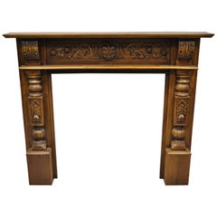 Reproduction Carved Wood Italian Baroque Style Figural Fireplace Mantel Surround