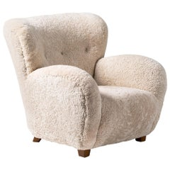 Custom-Made Danish Sheepskin Armchair