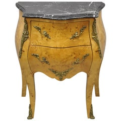 Reproduction French Louis XV Marble Top Burlwood Bombe Commode Nightstand Chest