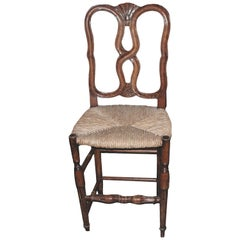 Reproduction French Louis XVI Style Bar Stool with Rush Seat and High Back