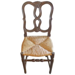 Reproduction French Louis XVI Style Hand-Carved Dining-Chair with Rush Seat