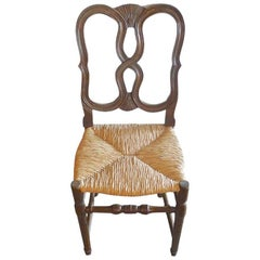 Reproduction French Louis XVI Style Hand Carved Dining Chair with Rush Seat