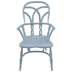 Reproduction Gothic Interlace Whitewash Chair with Arms