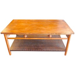 Reproduction Newport 1980s Style Stained Coffee Table with Leather Covered Shelf