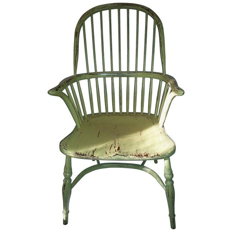 Reproduction Spindle Back Yellow Armchair For Sale at 1stdibs
